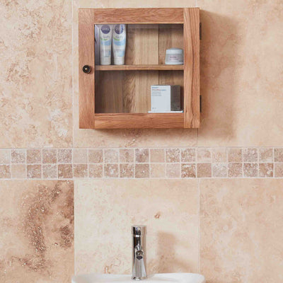 Mobel Bathroom 100% Solid Oak Glass Single Door Wall Cabinet