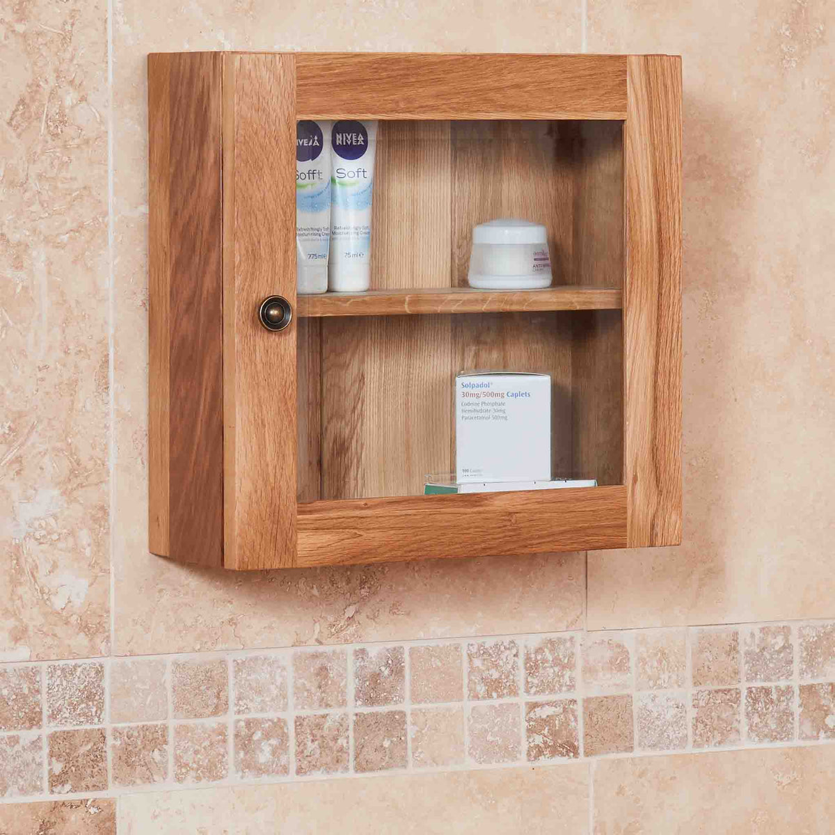 Side view of Mobel Bathroom 100% Solid Oak Glass Single Door Wall Cabinet