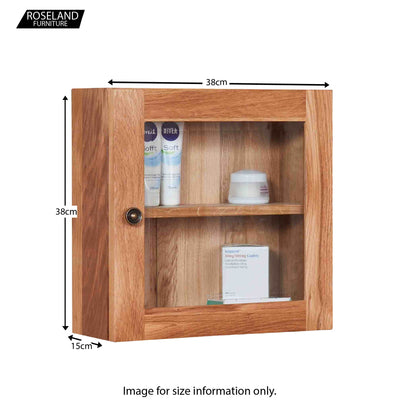 Dimensions for Mobel Bathroom 100% Solid Oak Glass Single Door Wall Cabinet 38 x 38 x 15 cm