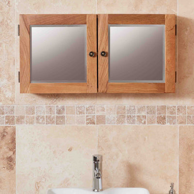 Mobel Bathroom 100% Solid Oak Mirrored Double Door Wall Cabinet
