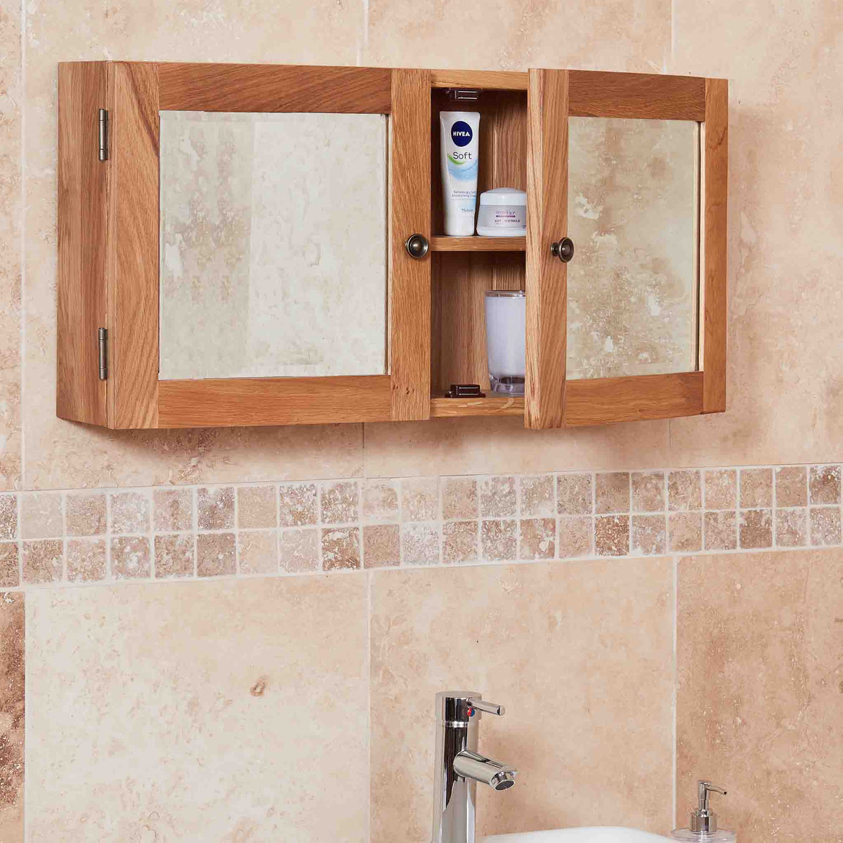 Side view of Mobel Bathroom 100% Solid Oak Mirrored Double Door Wall Cabinet