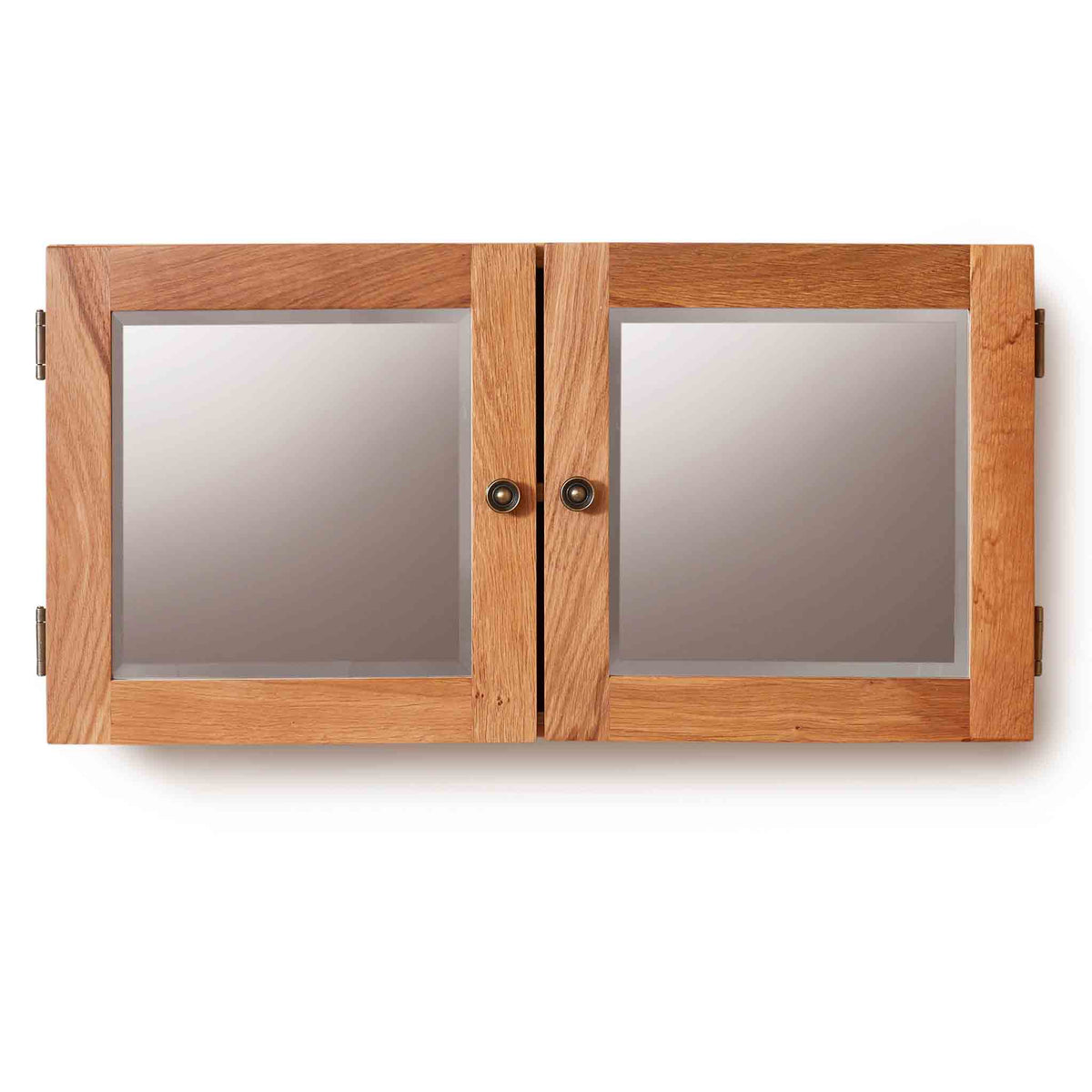 Mobel Bathroom 100% Solid Oak Mirrored Double Door Wall Cabinet on white background