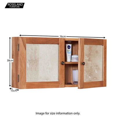 Mobel Bathroom 100% Solid Oak Mirrored Double Door Wall Cabinet 38 x 76 x 15 cm