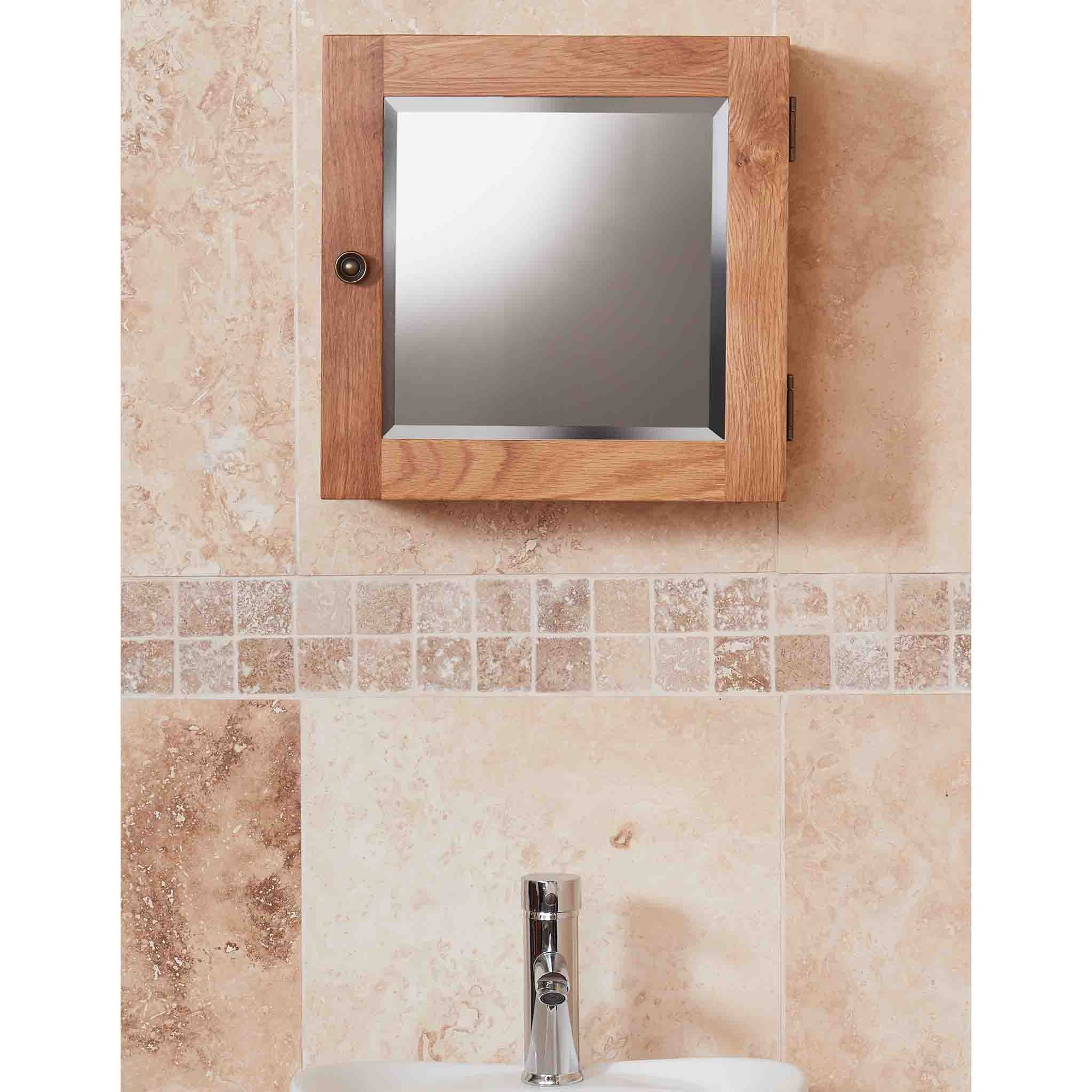 Mobel Bathroom 100% Solid Oak Mirrored Single Door Wall Cabinet