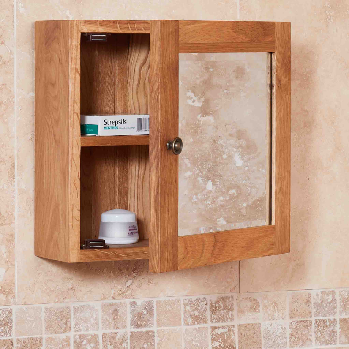 Side view of Mobel Bathroom 100% Solid Oak Mirrored Single Door Wall Cabinet