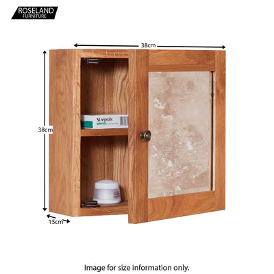 Mobel Bathroom 100% Solid Oak Mirrored Single Door Wall Cabinet 38 x 38 x 15 cm