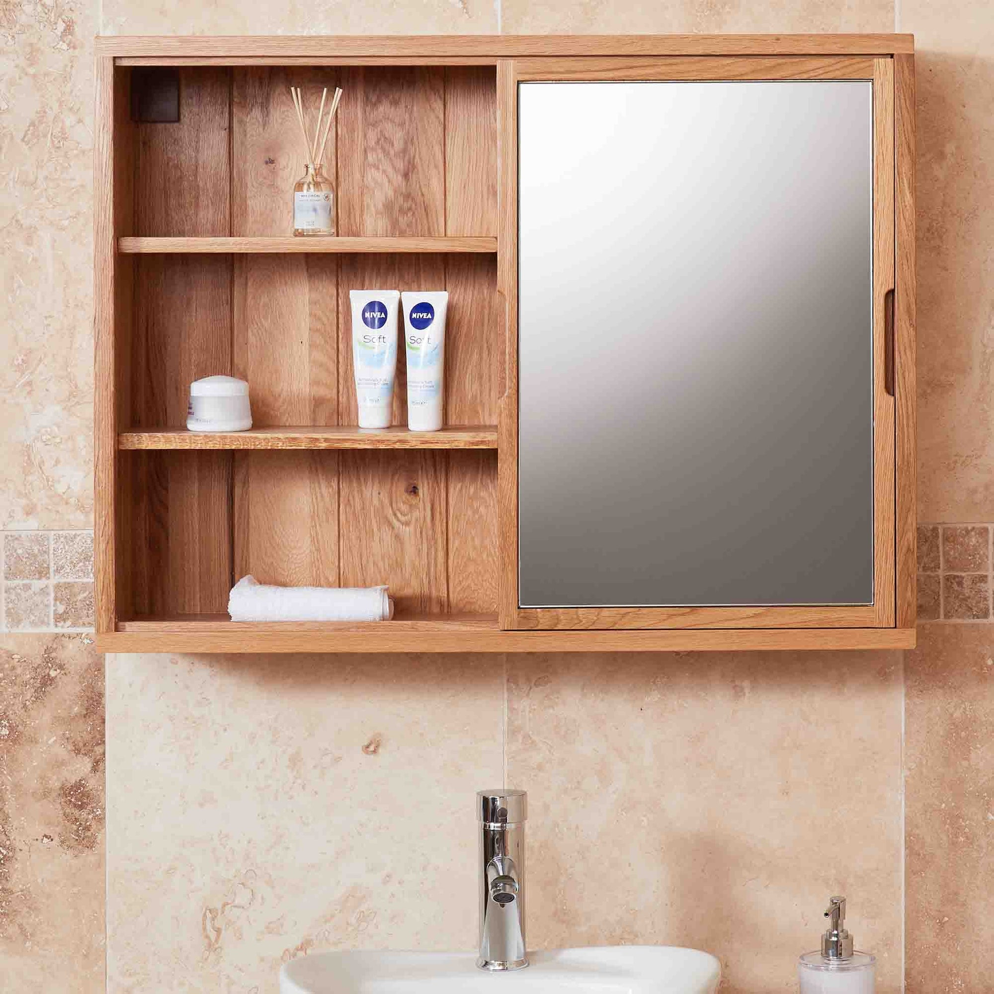 Mobel Bathroom 100% Solid Oak Sliding Mirror Door Wall Cabinet