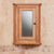 Close up of Mobel Bathroom 100% Solid Oak Mirrored Corner Wall Cabinet