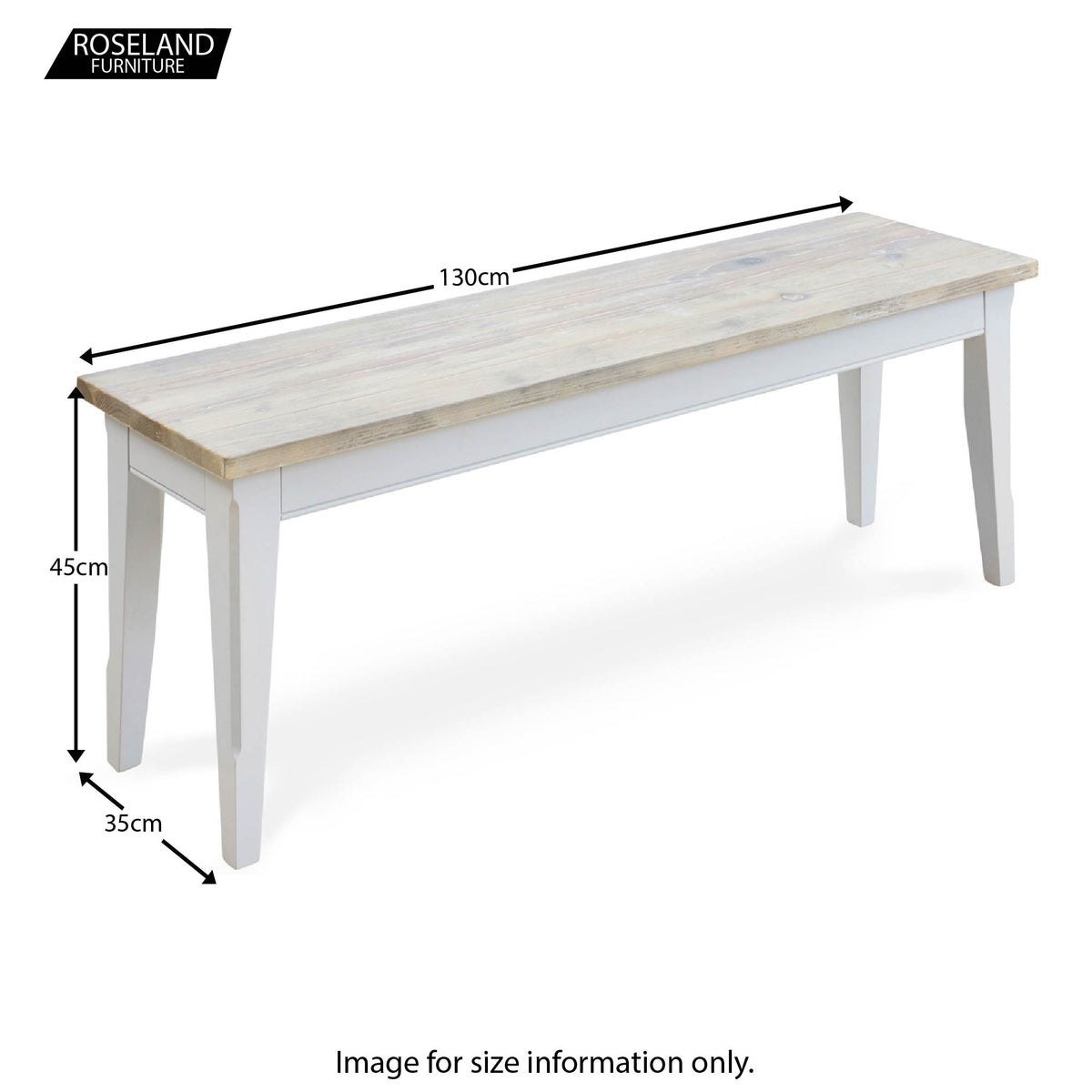 Signature 130cm Dining Bench - Size Guide