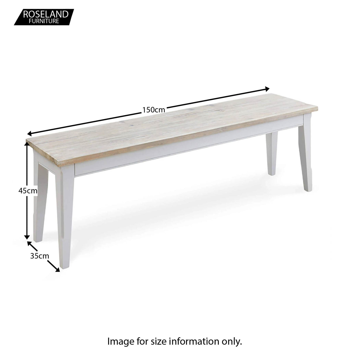 Signature 150cm Dining Bench - Size Guide