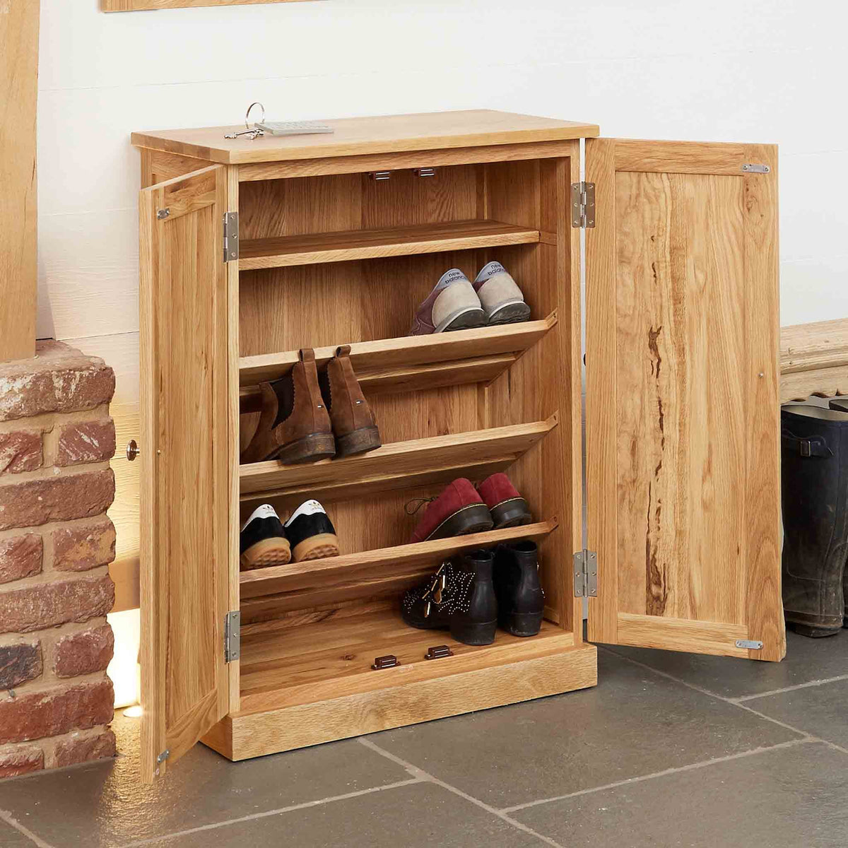Mobel Oak Shoe Cupboard by Roseland Furniture