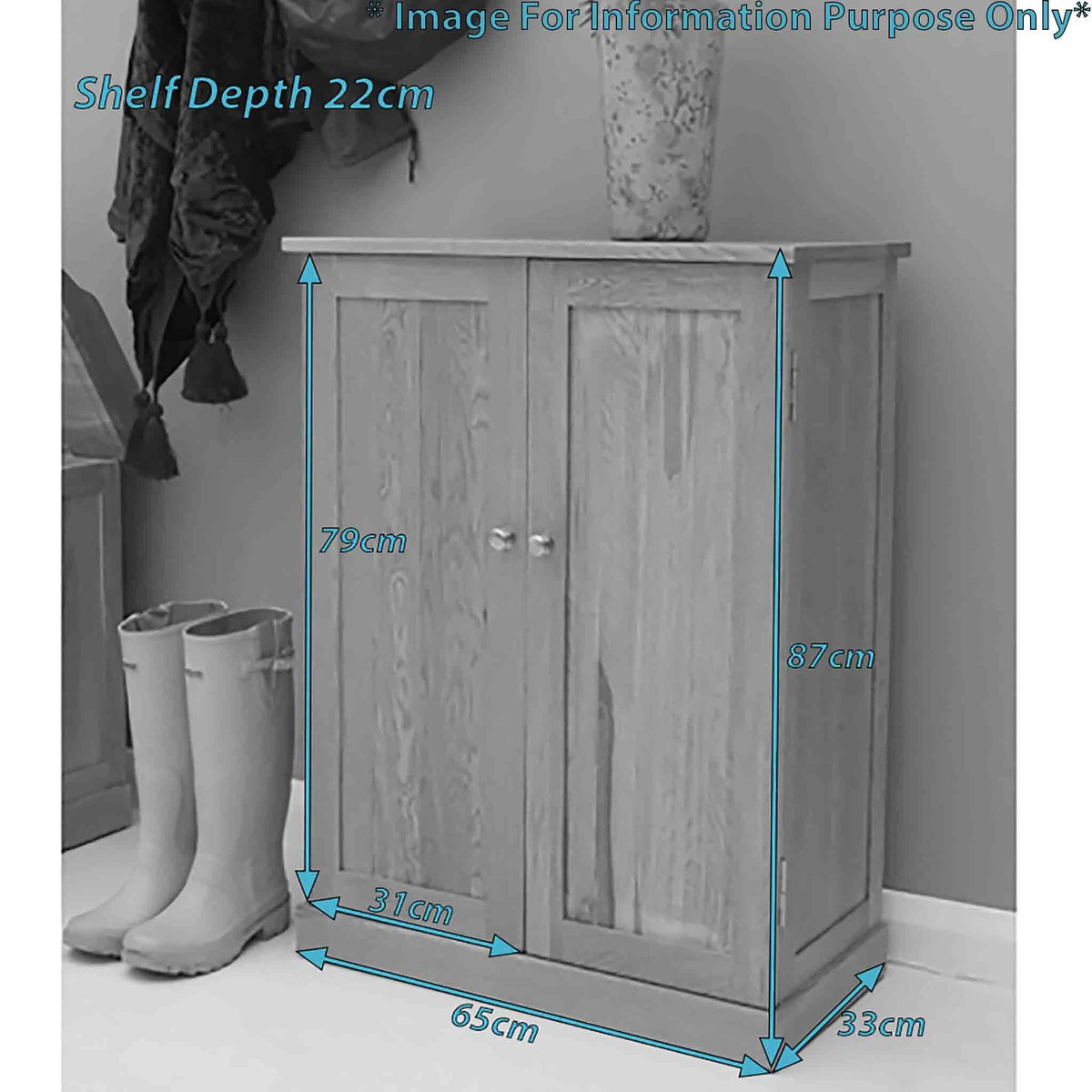 Dimensions - Mobel Oak Shoe Cupboard