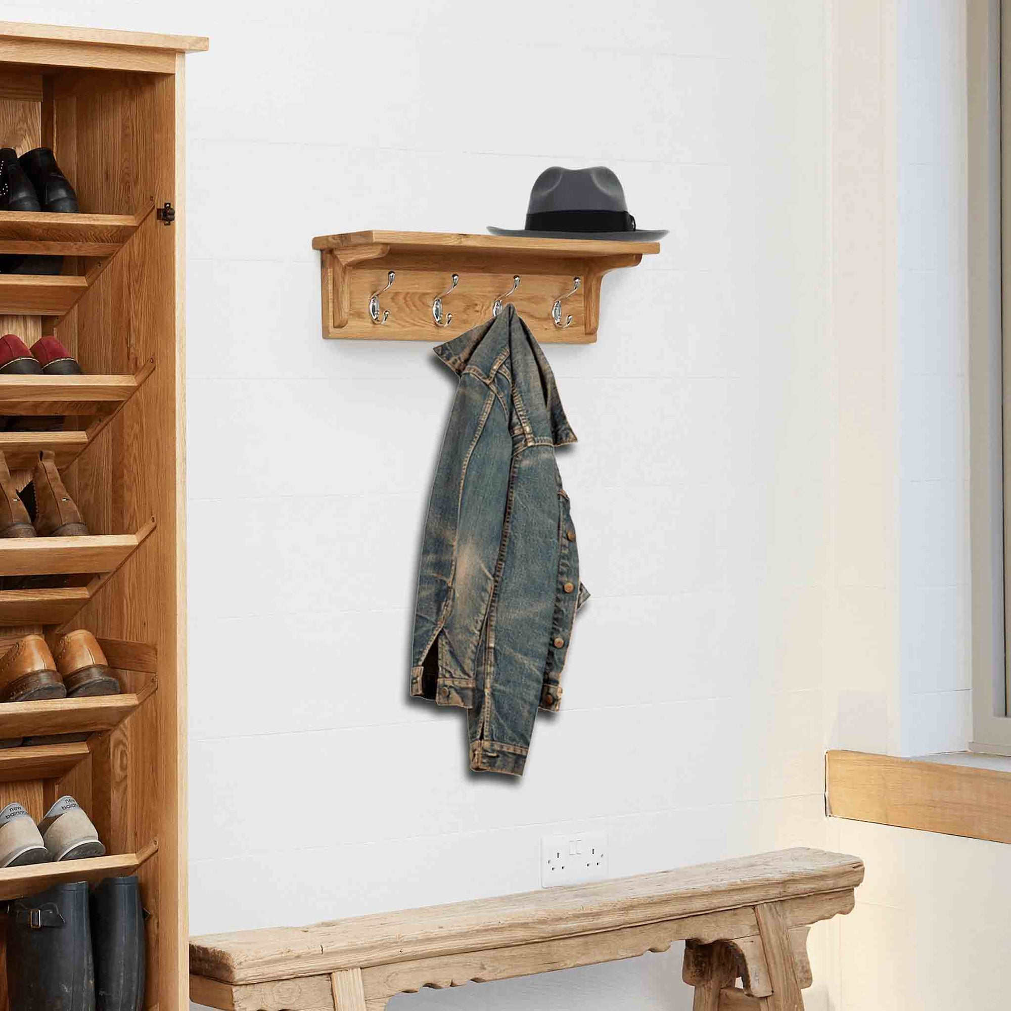 Mobel Oak Wall Mounted Coat Rack by Roseland Furniture
