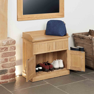 Mobel Oak Shoe Bench with Hidden Storage by Roseland Furniture