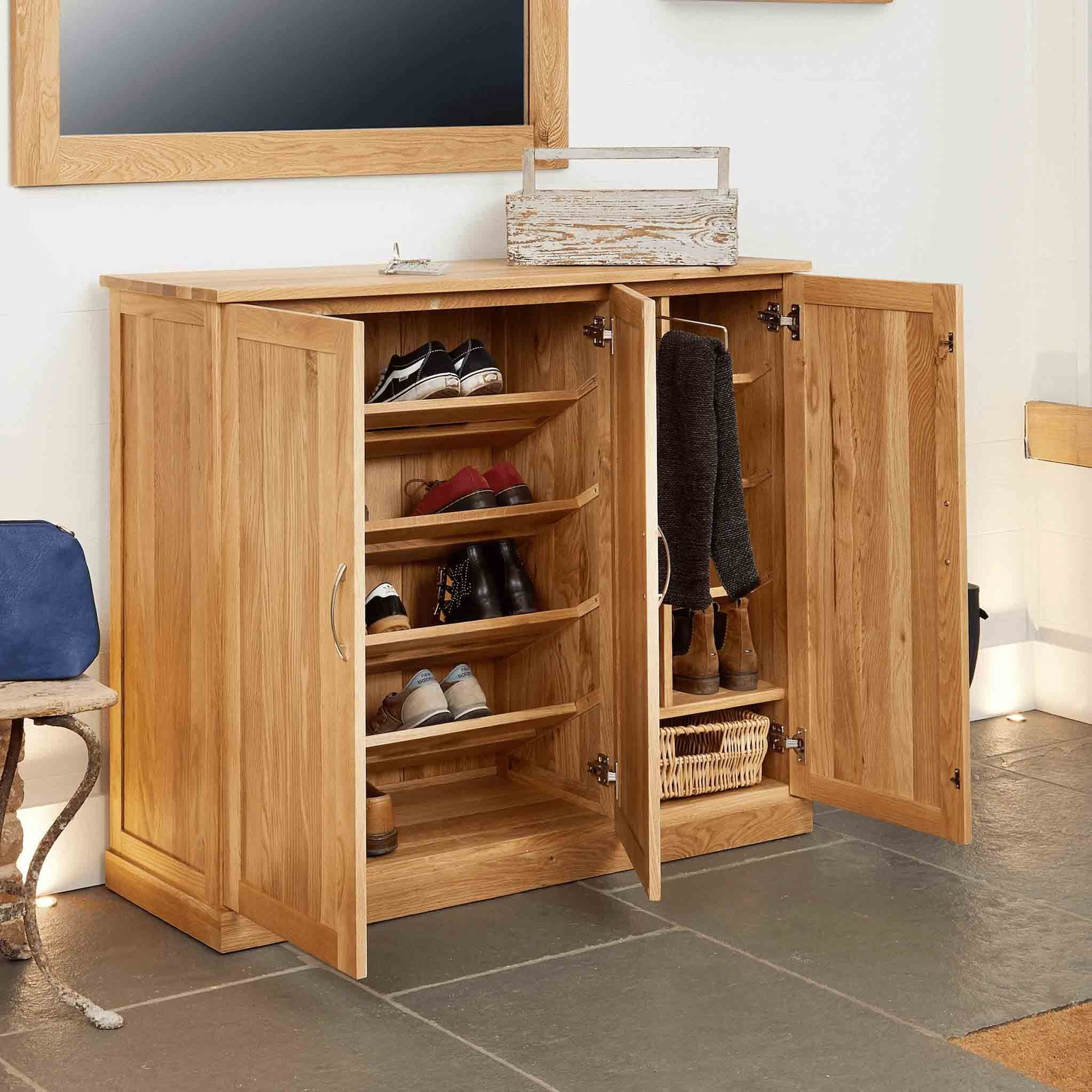Mobel Oak Extra Large Shoe Cupboard by Roseland Furniture