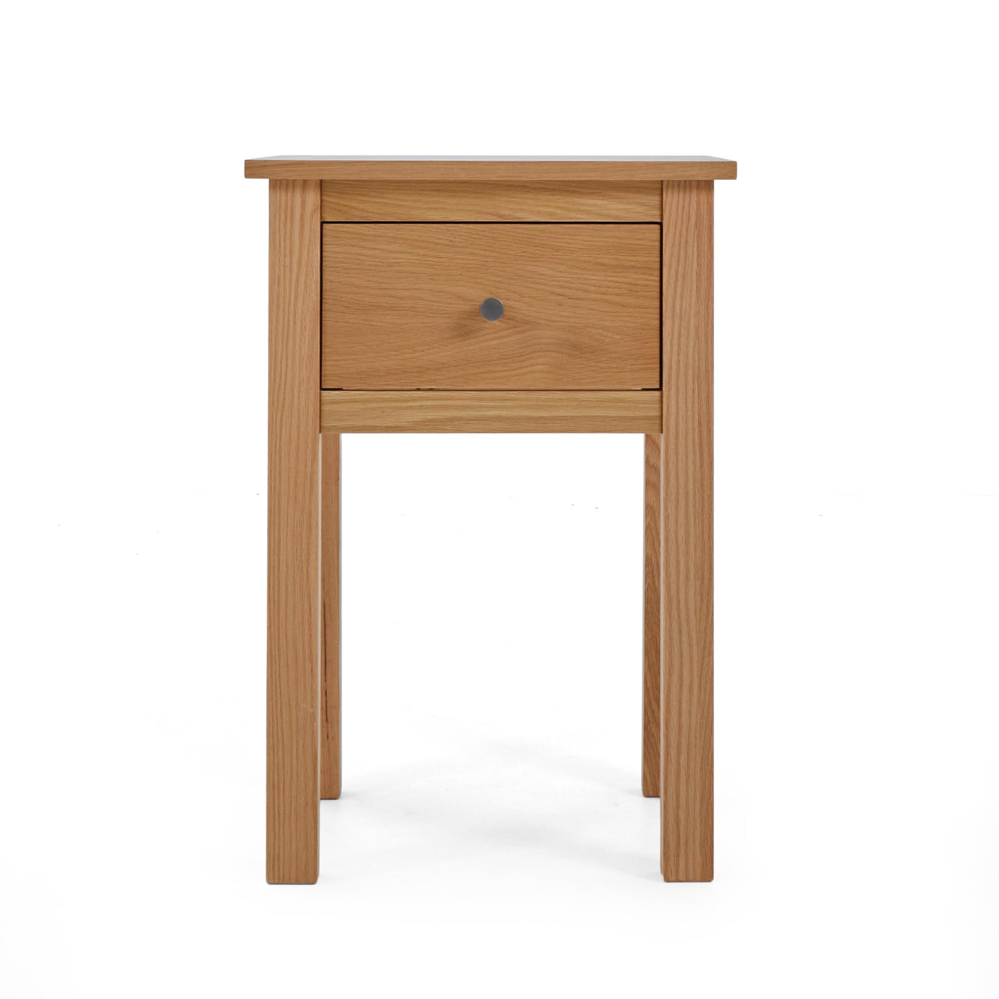 Front view of the Falmouth Oak Lamp Table with Drawer