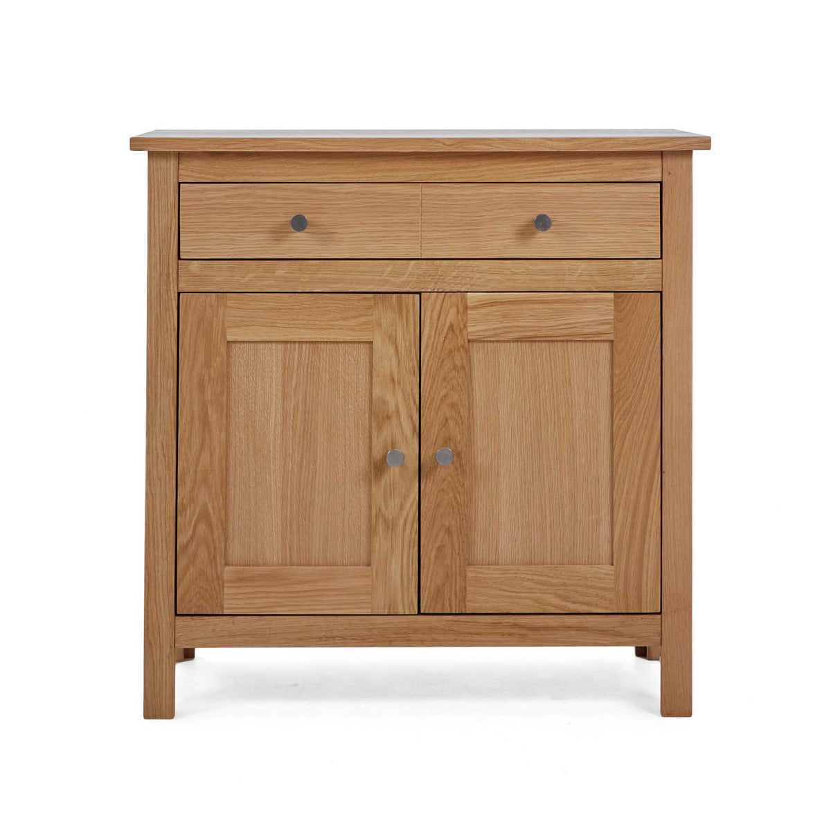 Front view of the Falmouth Oak Mini Sideboard by Roseland Furniture