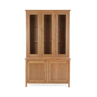 Front view of the Falmouth Oak Large Display Cabinet with internal light off