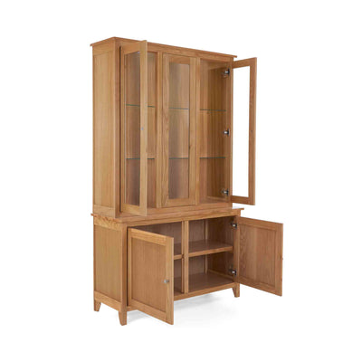 Opened door view of the Falmouth Oak Large Display Cabinet with internal light on