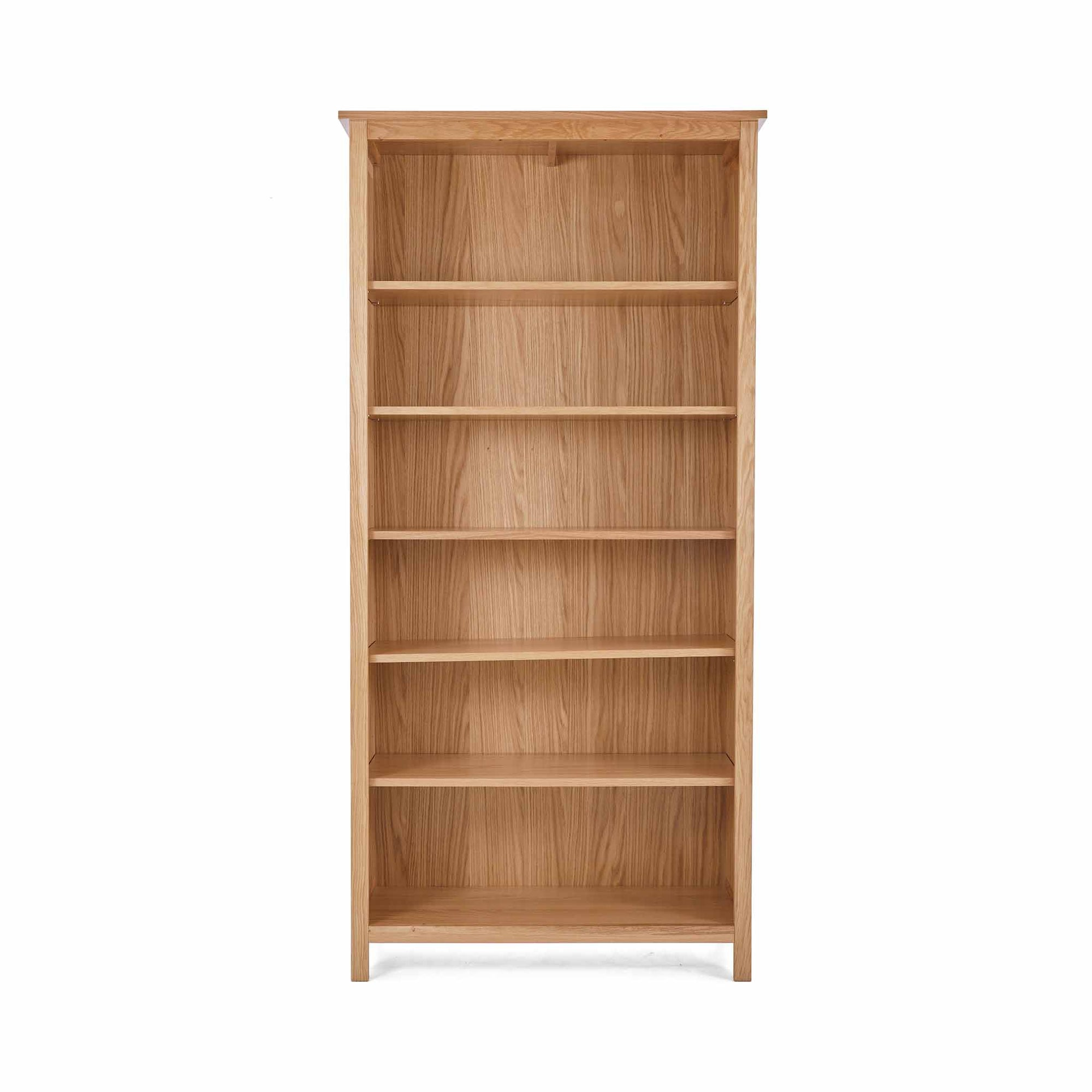 Front view of the Falmouth Oak Large Bookcase by Roseland Furniture