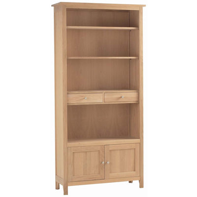 Falmouth Oak Bookcase with Cupboard & Drawers