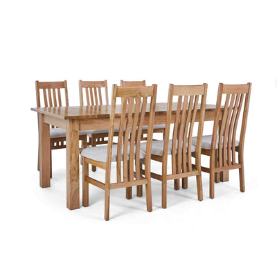 6 Natural Slatted Chairs with the Falmouth Oak Large Extending Dining Table