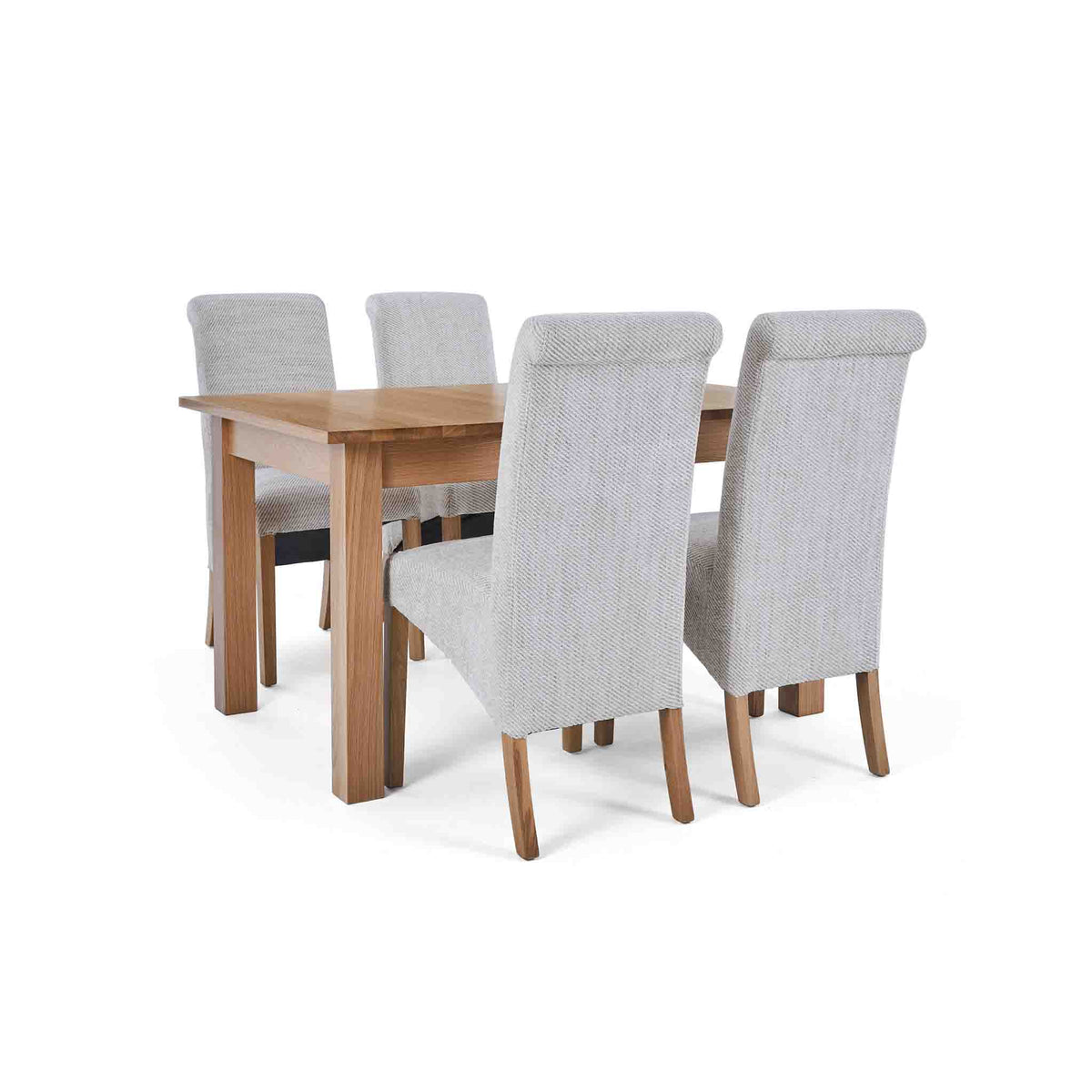 4 Natural Chairs with the closed Falmouth Oak Large Extending Dining Table