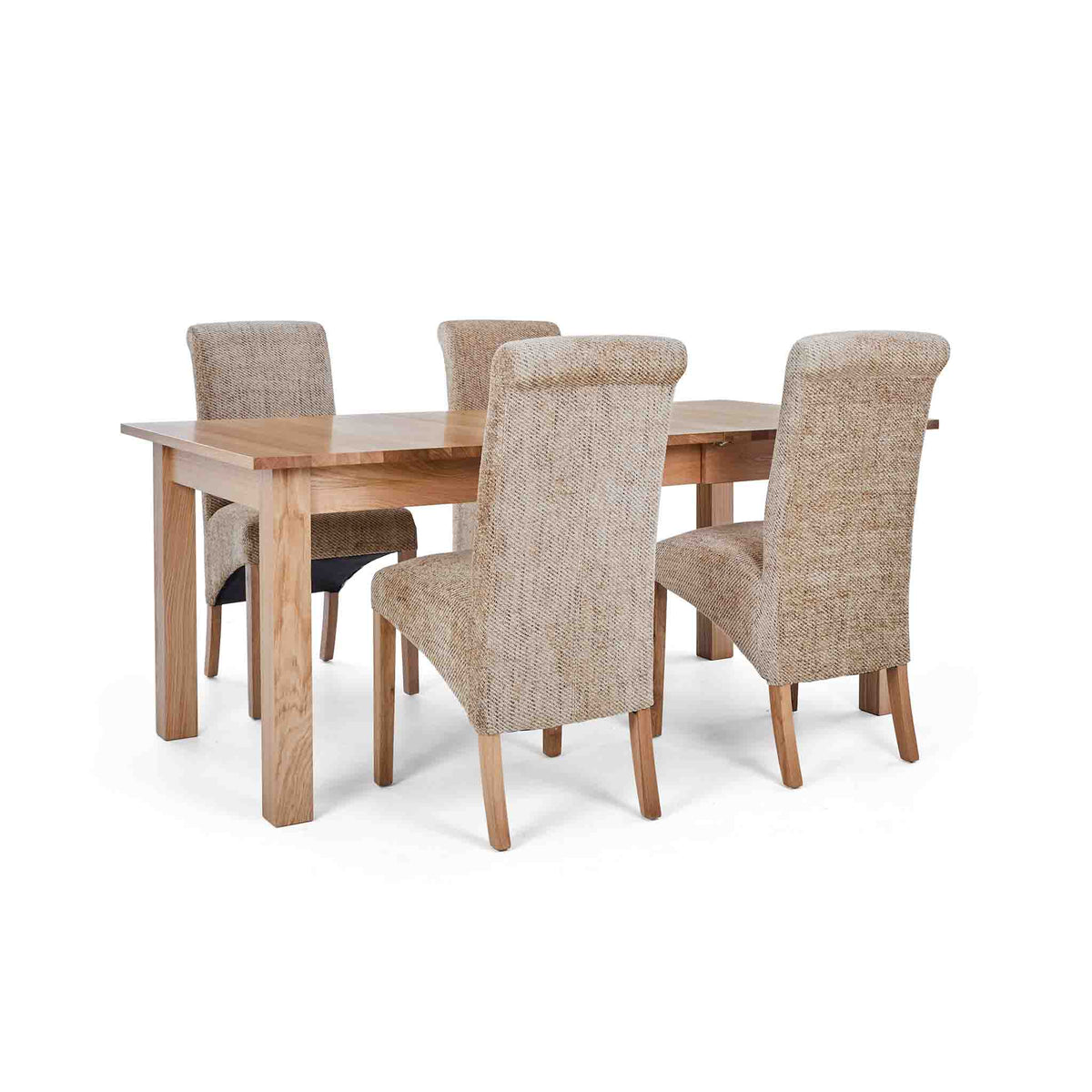 4 Wheat Bibury Chairs with the Falmouth Oak Large Extending Dining Table