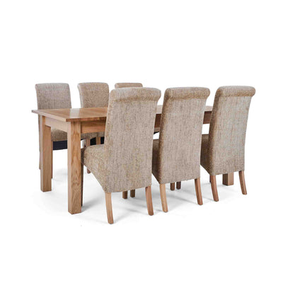 6 Wheat Bibury Chairs with the Falmouth Oak Large Extending Dining Table
