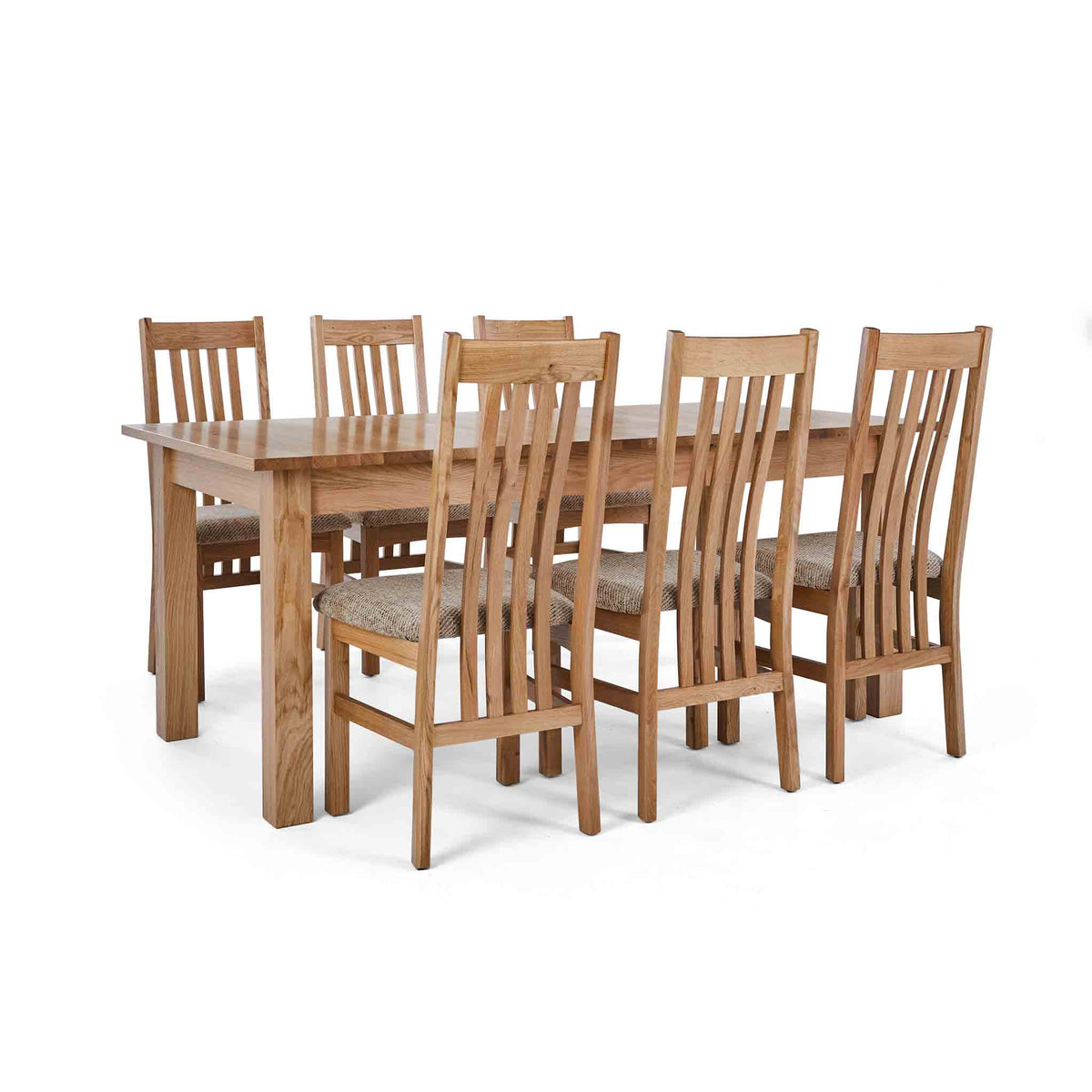 6 Wheat Slatted Chairs with the Falmouth Oak Large Extending Dining Table
