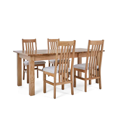 4 Natural Slatted chairs with the Falmouth Oak Large Extending Dining Table