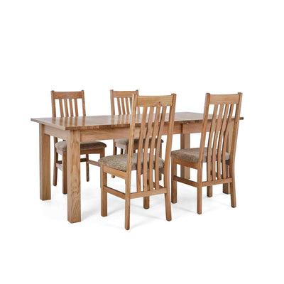 4 Wheat Slatted Chairs with the Falmouth Oak Large Extending Dining Table