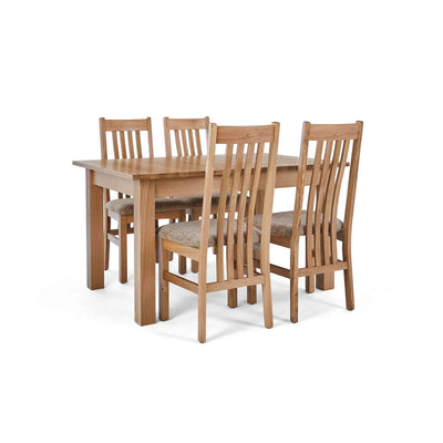 4 Wheat Slatted Chairs with the closed Falmouth Oak Large Extending Dining Table
