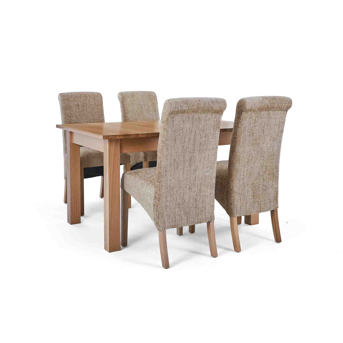 4 Wheat Bibury Chairs with the closed Falmouth Oak Large Extending Dining Table