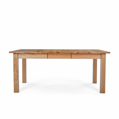 Front view of the Falmouth Oak Large Extending Table by Roseland Furniture