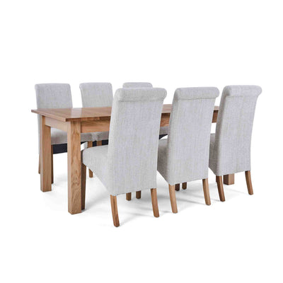 6 Natural Bibury Chairs with the Falmouth Oak Large Extending Dining Table