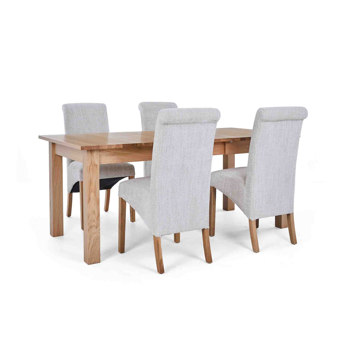4 Natural Bibury Chairs with the Falmouth Oak Large Extending Dining Table