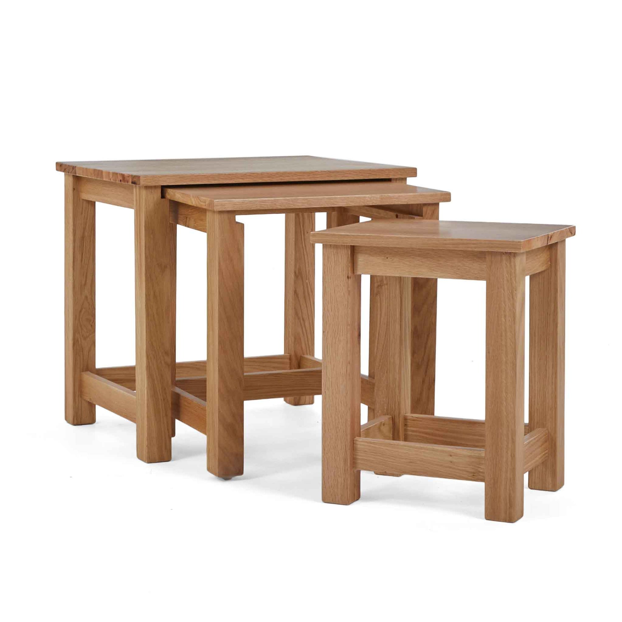 Falmouth Oak Nest of 3 Tables by Roseland Furniture
