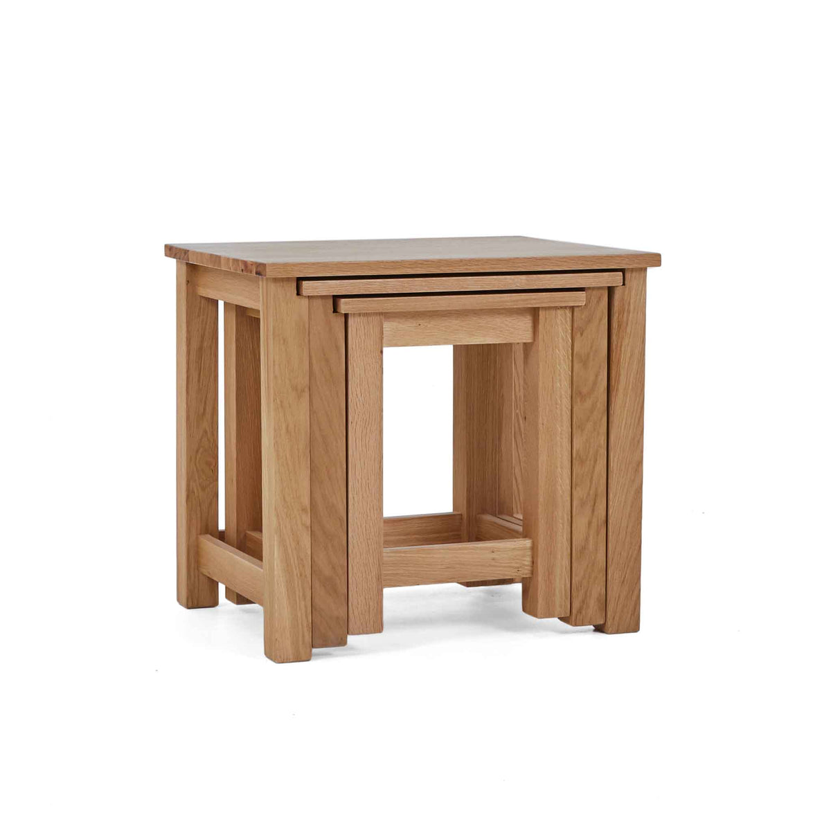 Stacked view of the Falmouth Oak Nest of 3 Tables by Roseland Furniture
