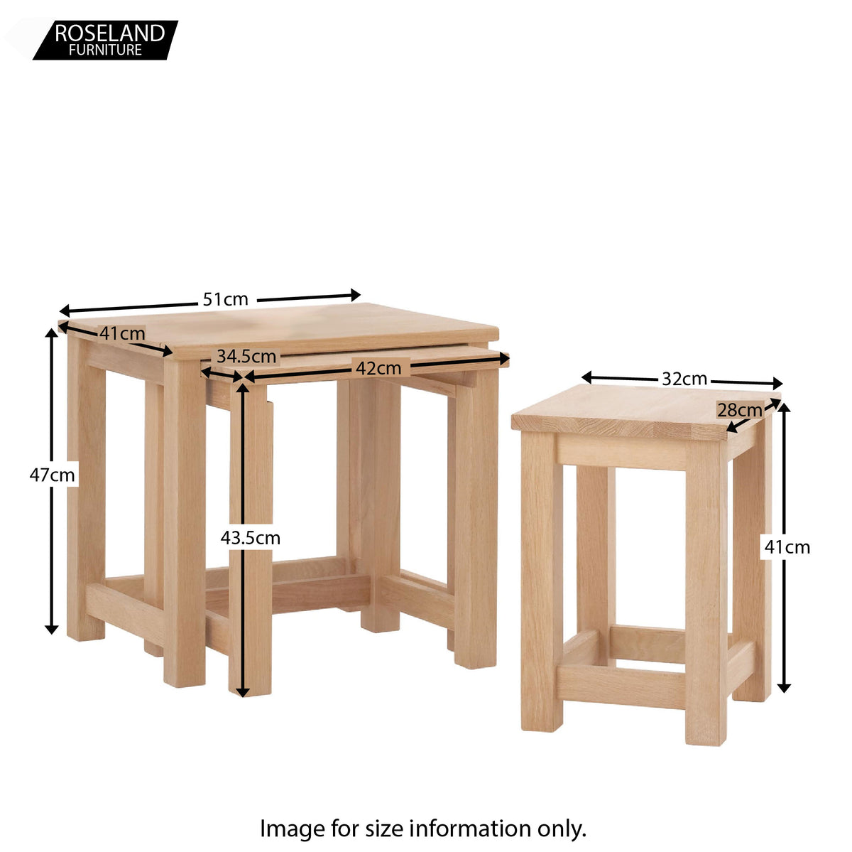 Dmensions - Falmouth Oak Nest of 3 Tables