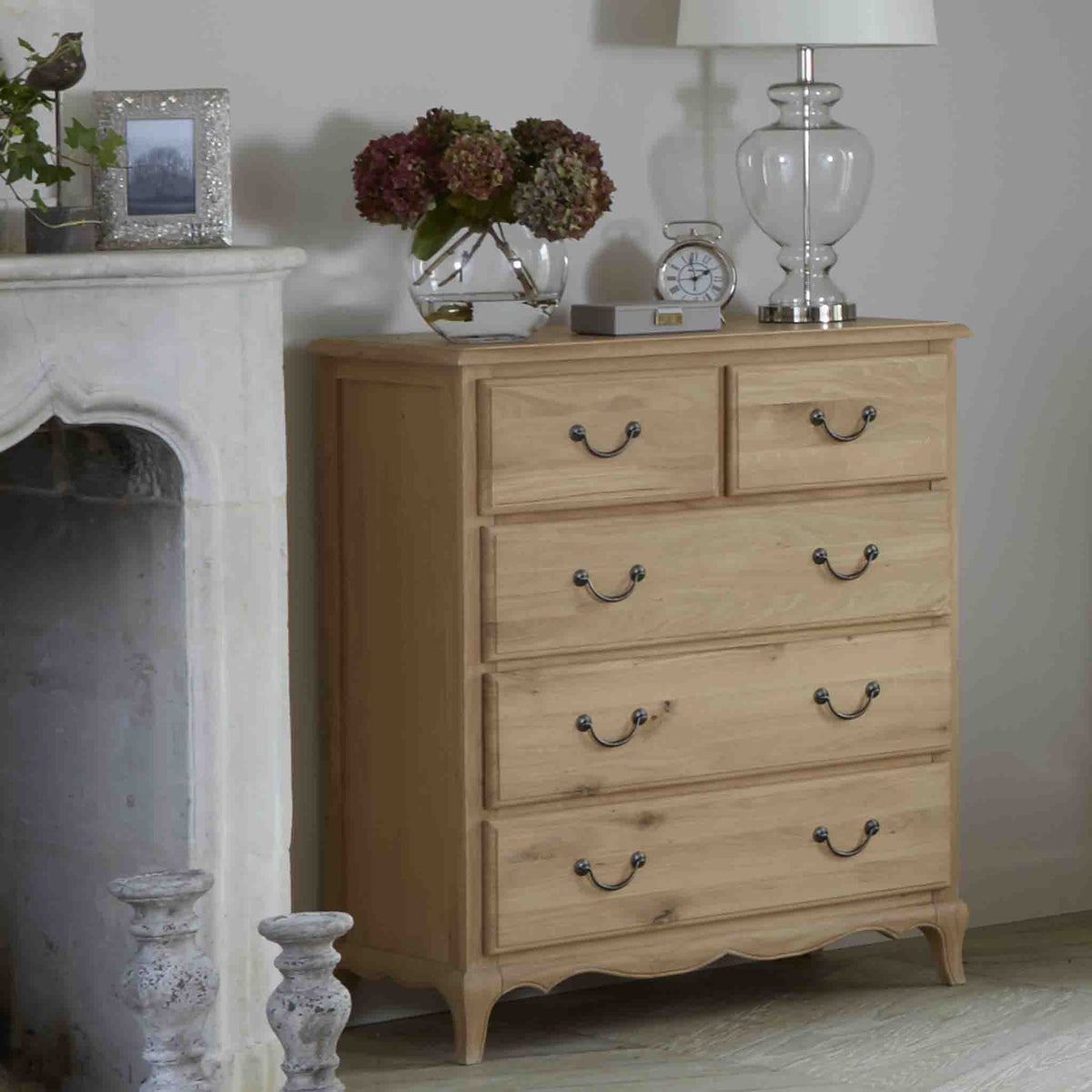 Lifestyle image of the Harrogate Oak 2 over 3 Chest of Drawers