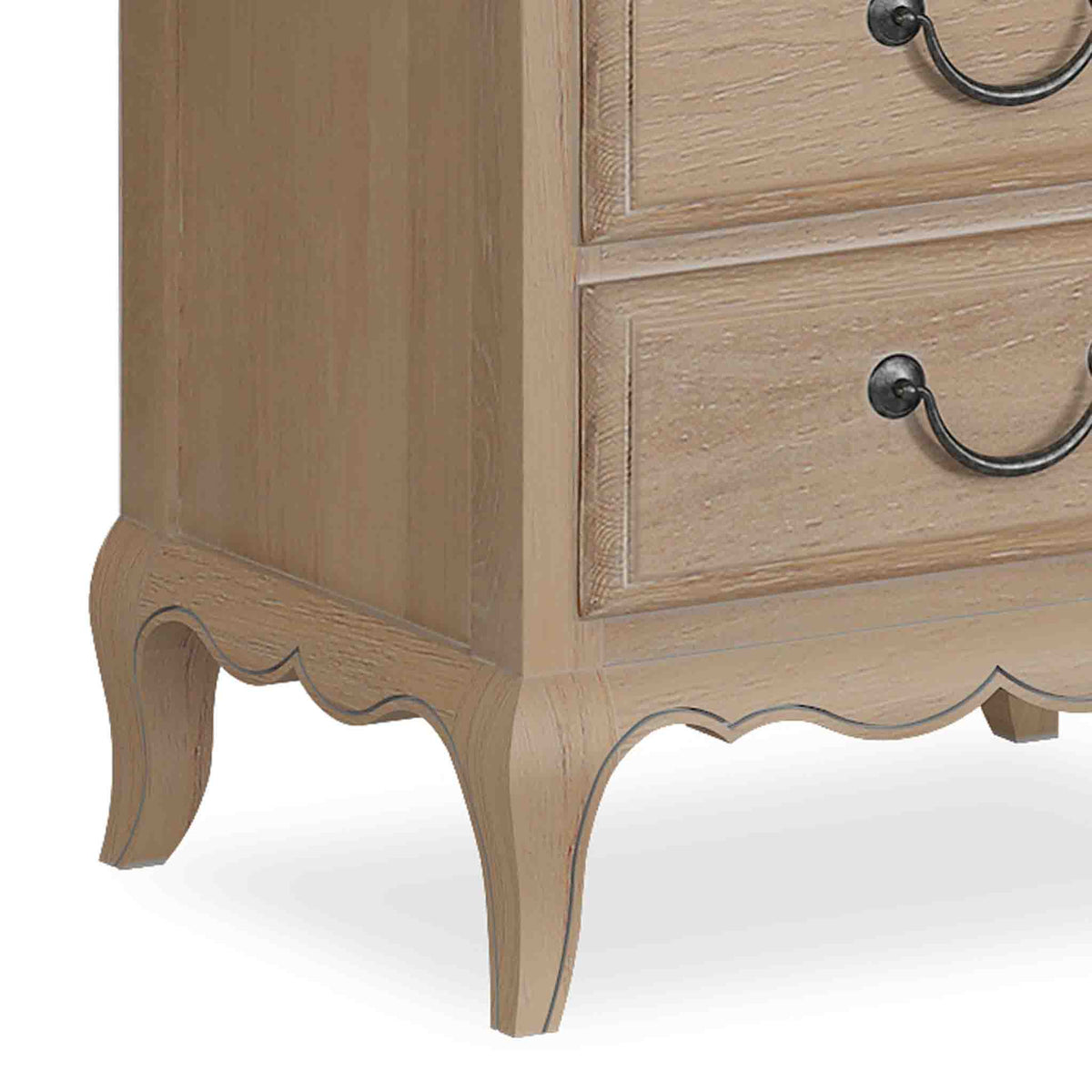 close up of cabriole legs on the Harrogate Oak French Style Bedside Table