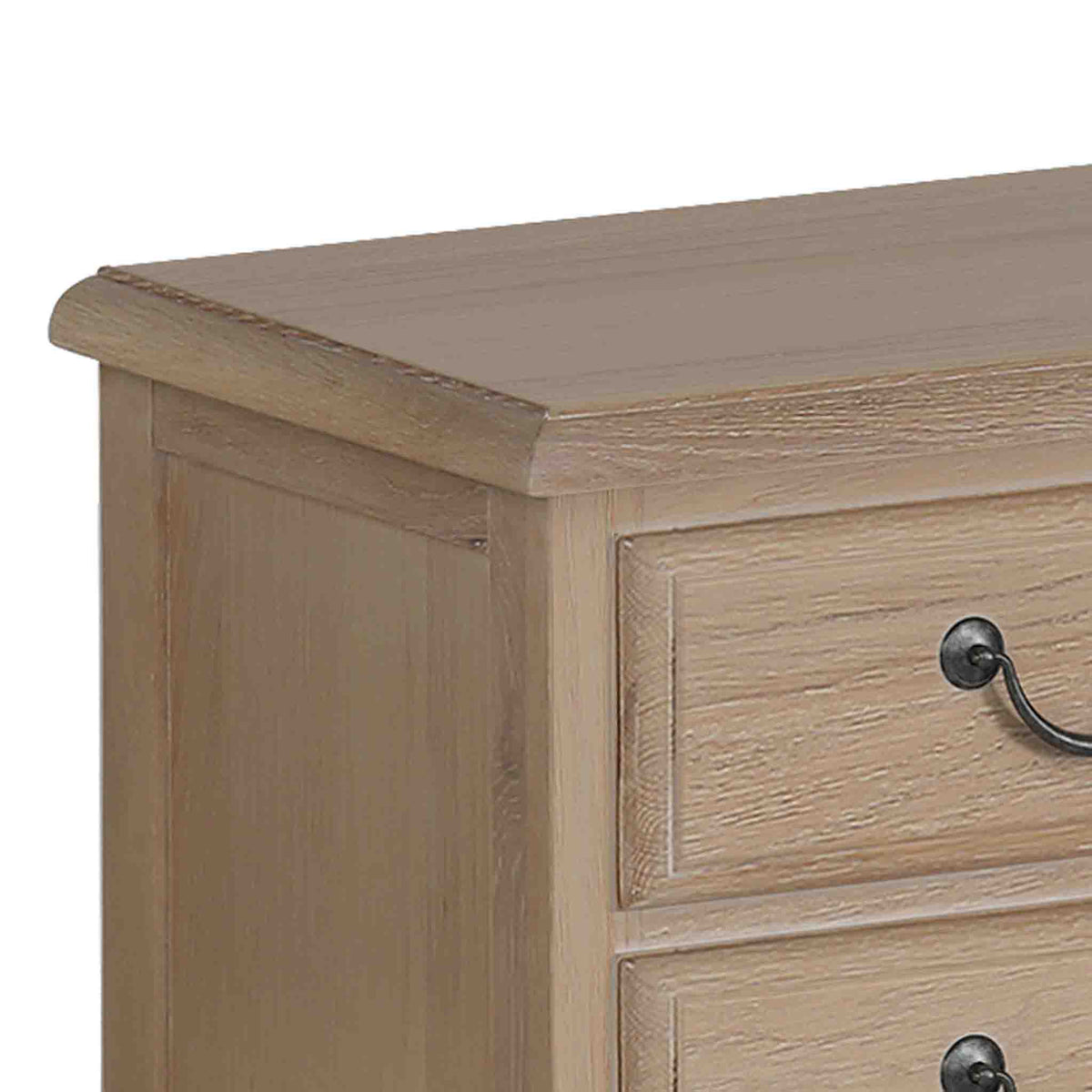 close up of oak top on the Harrogate Oak French Style Bedside Table