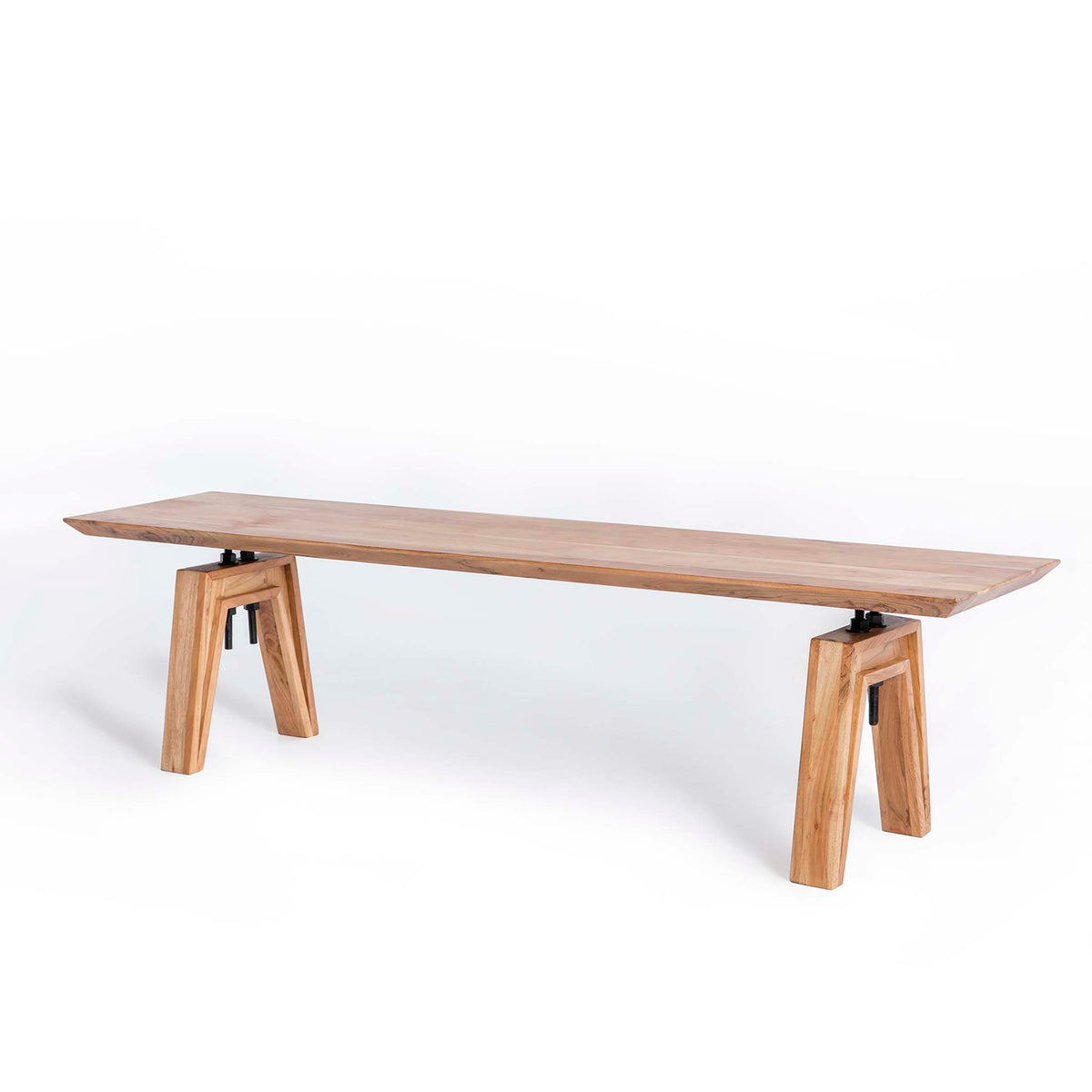 Freya Acacia Dining Bench - Side view