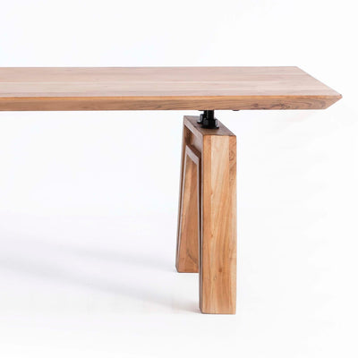 Freya Acacia Dining Bench - Close up of end of bench