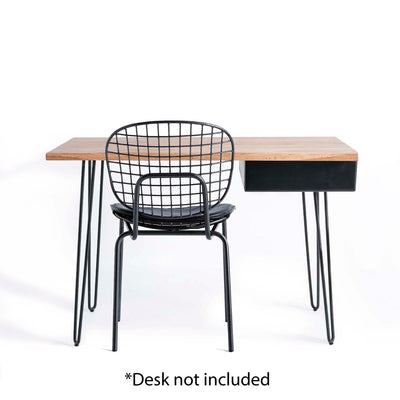 Freya Metal Dining Chair with Cushioned Seat - Displayed with Freya desk