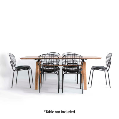Freya Metal Dining Chair with Cushioned Seat - Displayed with Freya Dining Table and extra chairs