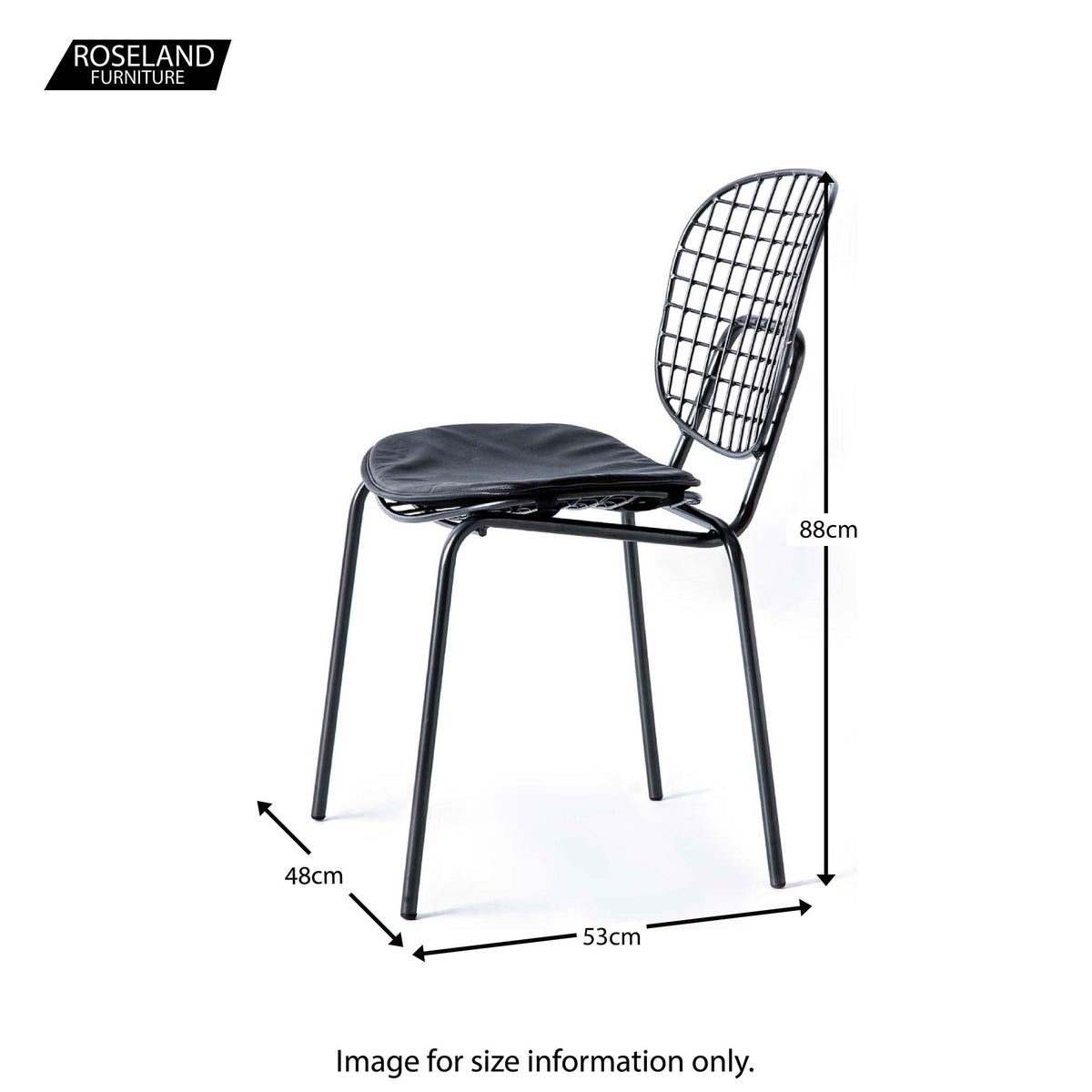 Freya Metal Dining Chair with Cushioned Seat - Size Guide