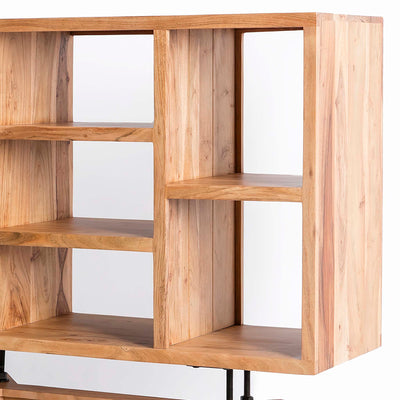 Freya Acacia Bookcase - Close up of shelving on bookcase