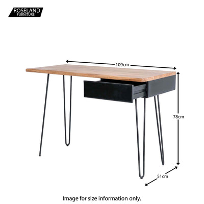 Freya Acacia Study Desk with Drawer - Size Guide